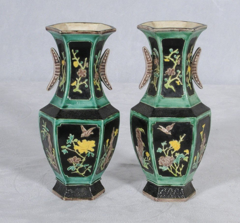 58: PR. OF CHINESE PORCELAIN HEXAGONAL SHAPED URNS. TWO
