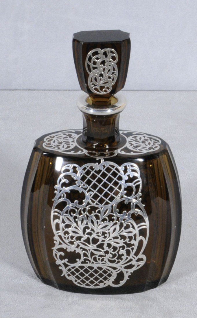 59: BROWN GLASS & SILVER OVERLAY DECANTER W/ STOPPER. B