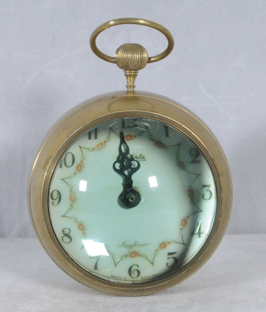 61: GERMAN GLASS & BRASS BALL CLOCK DIAL SIGNED WEHRLE