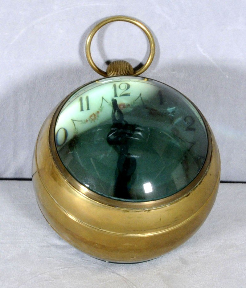 61: GERMAN GLASS & BRASS BALL CLOCK DIAL SIGNED WEHRLE  - 2