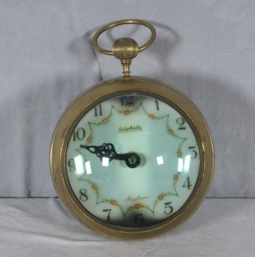 61: GERMAN GLASS & BRASS BALL CLOCK DIAL SIGNED WEHRLE  - 3