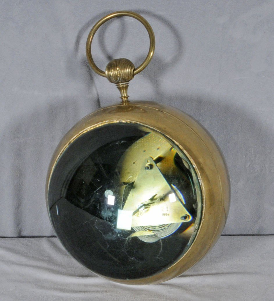 61: GERMAN GLASS & BRASS BALL CLOCK DIAL SIGNED WEHRLE  - 4