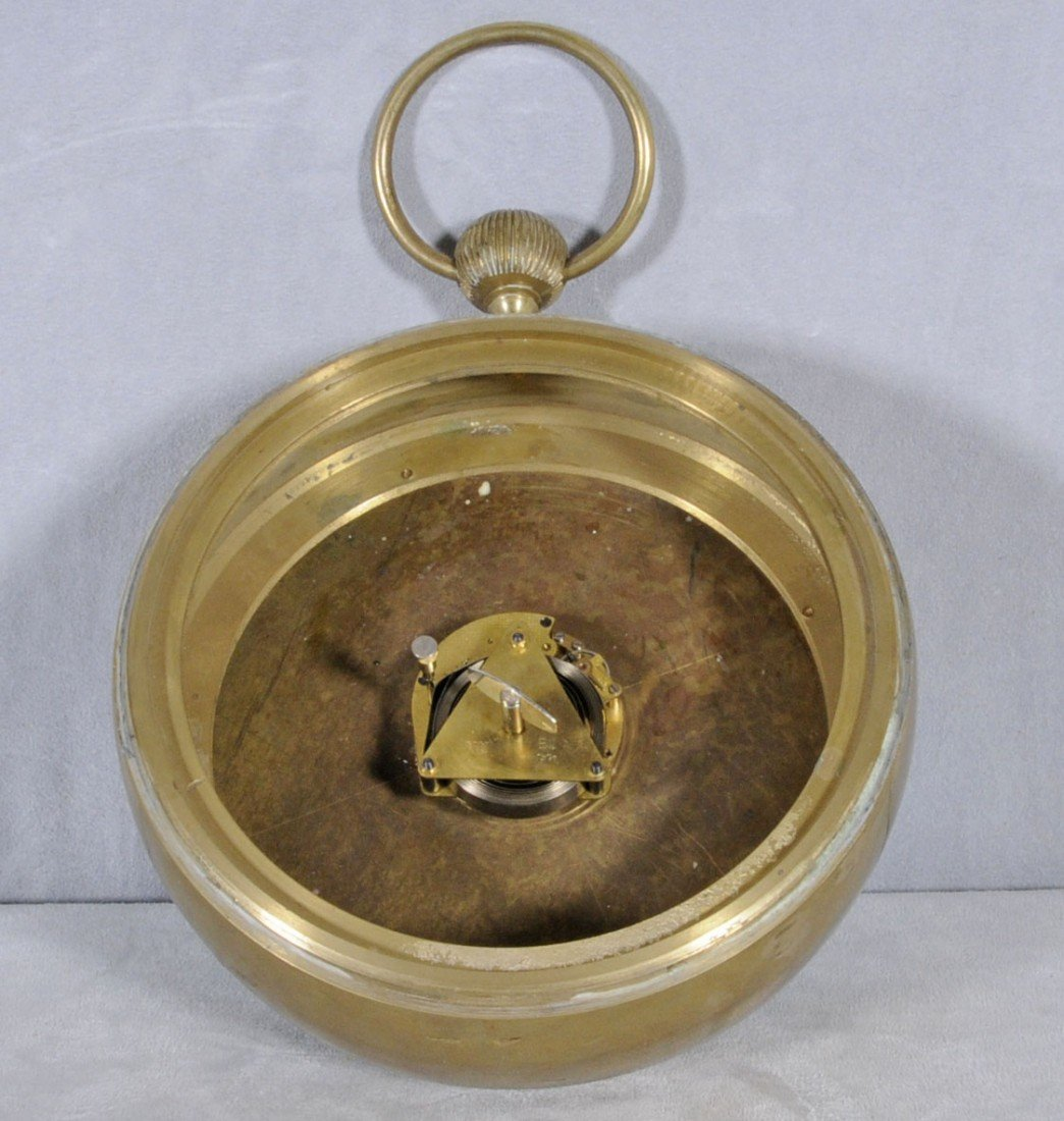 61: GERMAN GLASS & BRASS BALL CLOCK DIAL SIGNED WEHRLE  - 5