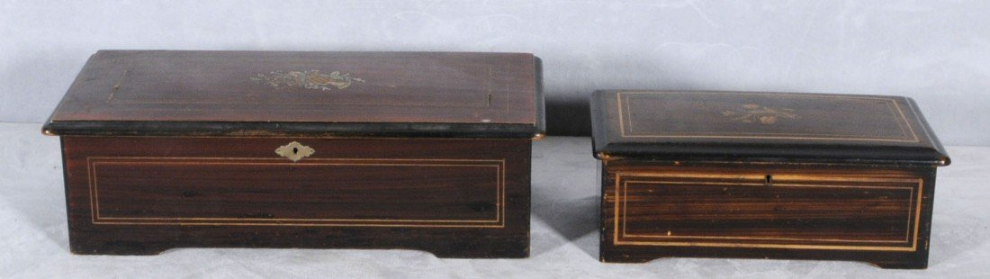 63: 2 PCS.  A MUSIC BOX & AN INLAID BOX. THE LARGER ONE