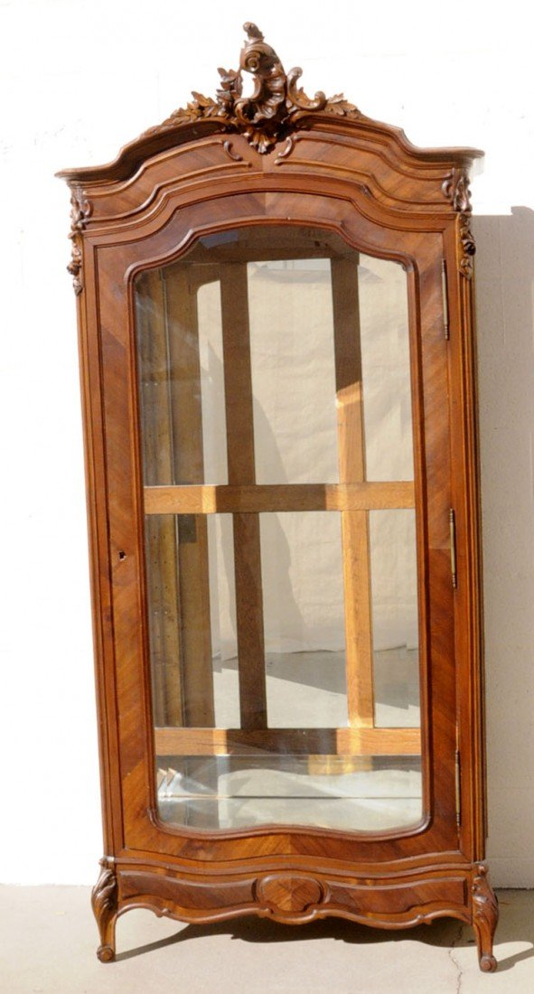 68: ANTIQUE FRENCH PROVENCIAL CARVED WALNUT VITRINE. SI