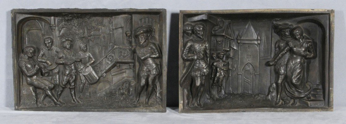 71: 2 FRENCH METAL FIGURAL RELIEF PLAQUES. SINGED LEVAS