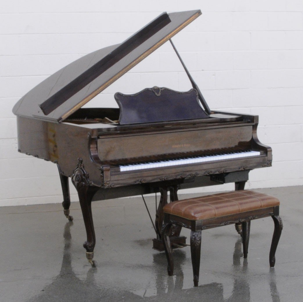 "150: MAHOGANY SCHAFER & SONS 5' 9"" GRAND PIANO IN A LXV"