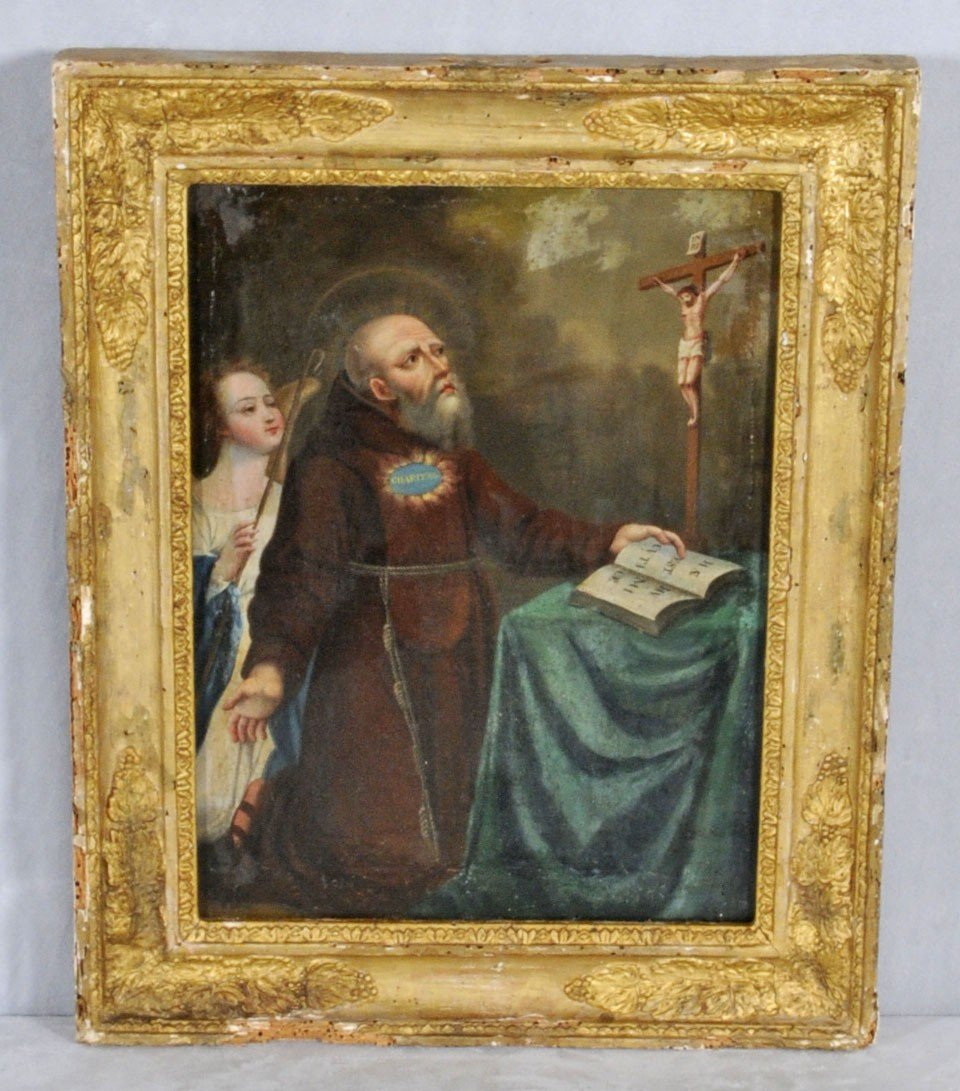 158: LATE 18TH C. SPANISH OIL PTG. CNV.  OF A MONK W/ A