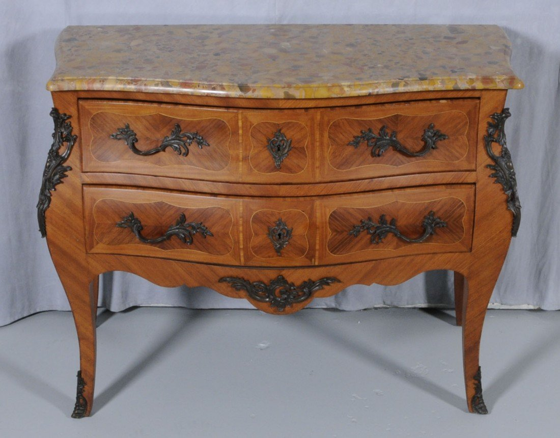 165: 19TH C. FRENCH LXV STYLE BOMBE M.T. COMMODE. C185