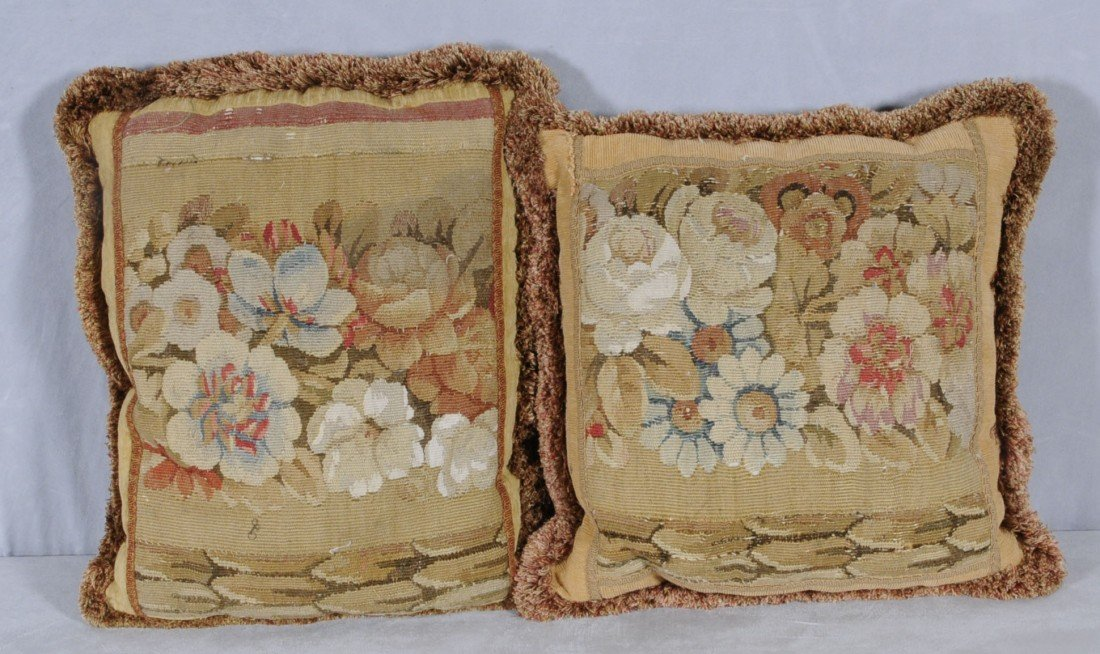 "166: 2 ANTIQUE FRENCH FLORAL AUBUSSON PILLOWS.  21"" X 1"