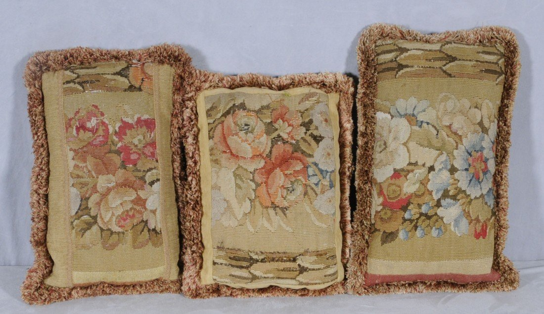 "167: 3 ANTIQUE FRENCH AUBUSSON PILLOWS.  20"" X 12"" - 18"