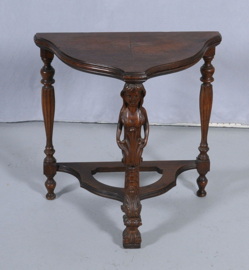 318: AMERICAN WALNUT CONSOLE TABLE. CARVED FIGURE OF A