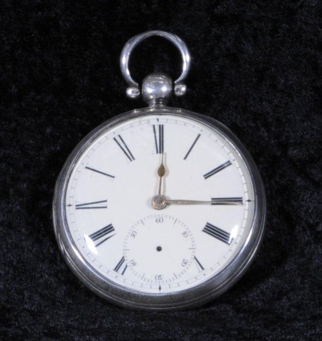 2: 19TH C. ENGLISH SILVER CASE POCKET WATCH. BIRMINGHAM