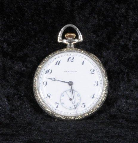 3: HAMILTON POCKET WATCH. SILVERED METAL CASE.  MONOGRA