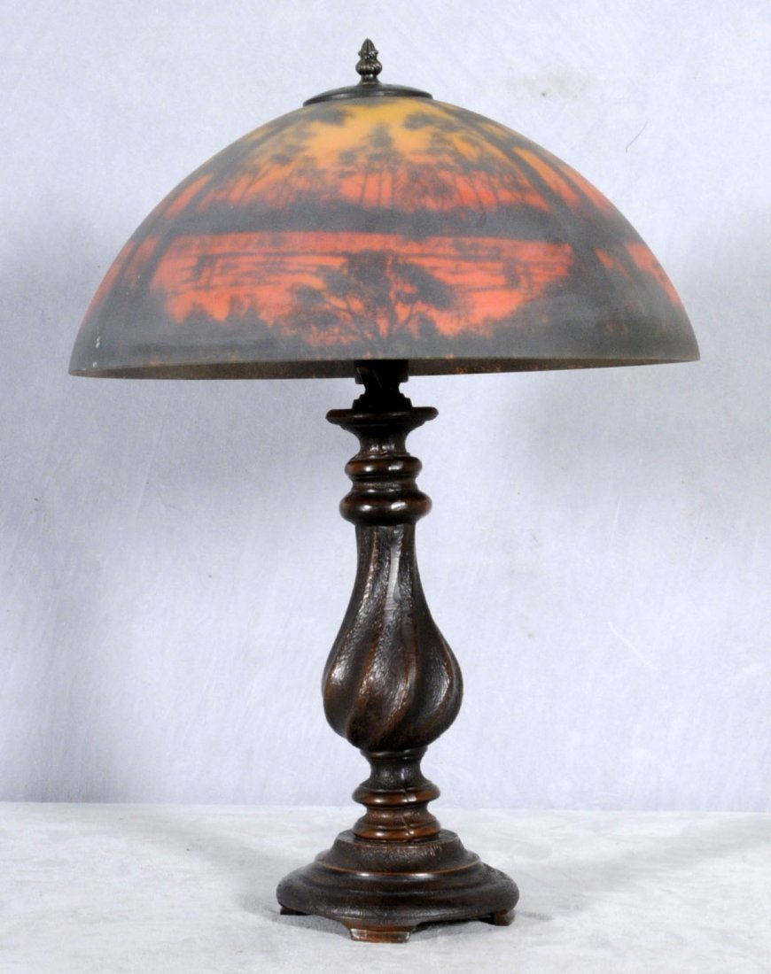 6: CONTEMPORARY ART GLASS TABLE LAMP. INTERIOR PAINTED