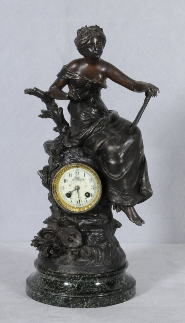 14: ANTIQUE FRENCH SPELTER FIGURAL CLOCK. CLOCK INSET I