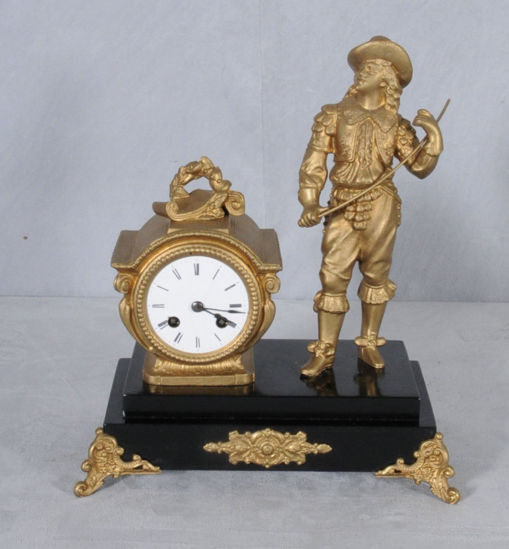 21: ANTIQUE FRENCH SPELTER MANTEL CLOCK DECORATED WITH