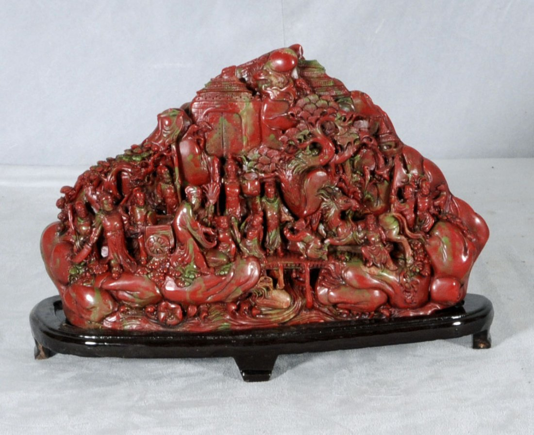 23: RED CHINESE CARVED SOAPSTONE PIECE. DEPICTING A FIG