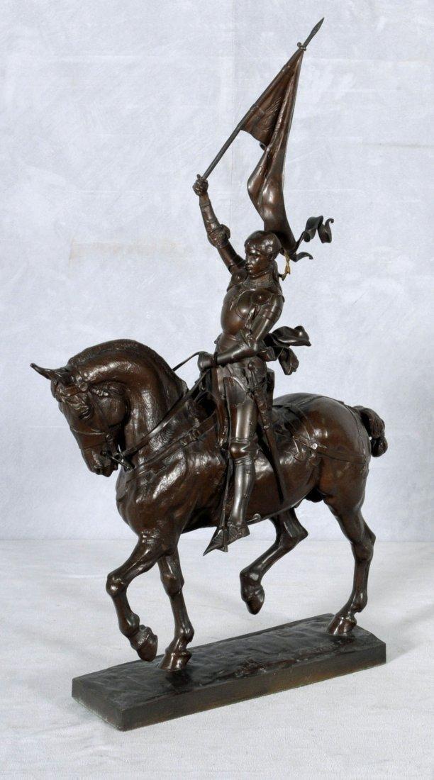 94: BRONZE SCULPTURE OF JOAN OF ARC ON HORSEBACK.  SIGN