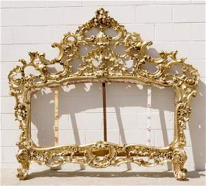 147: ANTIQUE FRENCH LXV STYLE CARVED GILTWOOD BED. OPEN