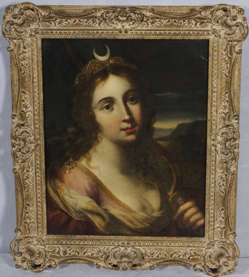 187: 18TH/19TH C. OIL PTG/CNV. OF A YOUNG LADY  WEARING