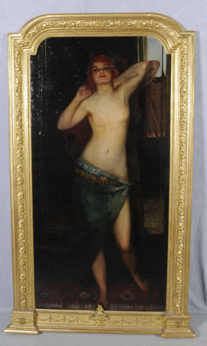 197: OIL PTG/CNV OF A SEMI-NUDE WOMAN STANDING IN FRONT