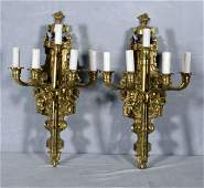 284 PR FRENCH BRONZE 5 LIGHT WALL SCONCES FLORAL SCR