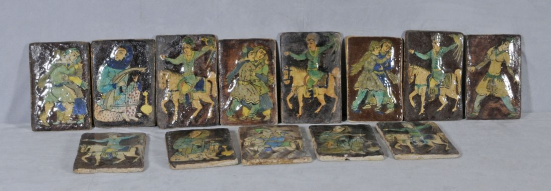 4: 13 ANTIQUE PERSIAN TILES. DARK BACKGROUNDS W/ COLORF