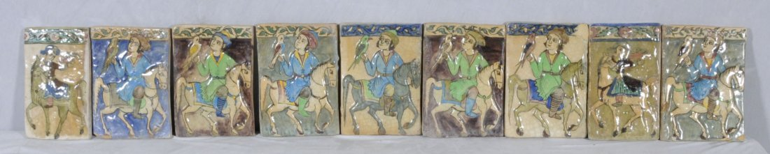 8: 9 ANTIQUE PERSIAN TILES WITH VARIOUS COLORED BACKGRO