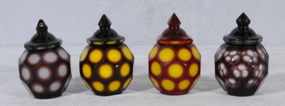 11: 4  PEKING GLASS COVERED JARS. 2 HAVE YELLOW & RED C