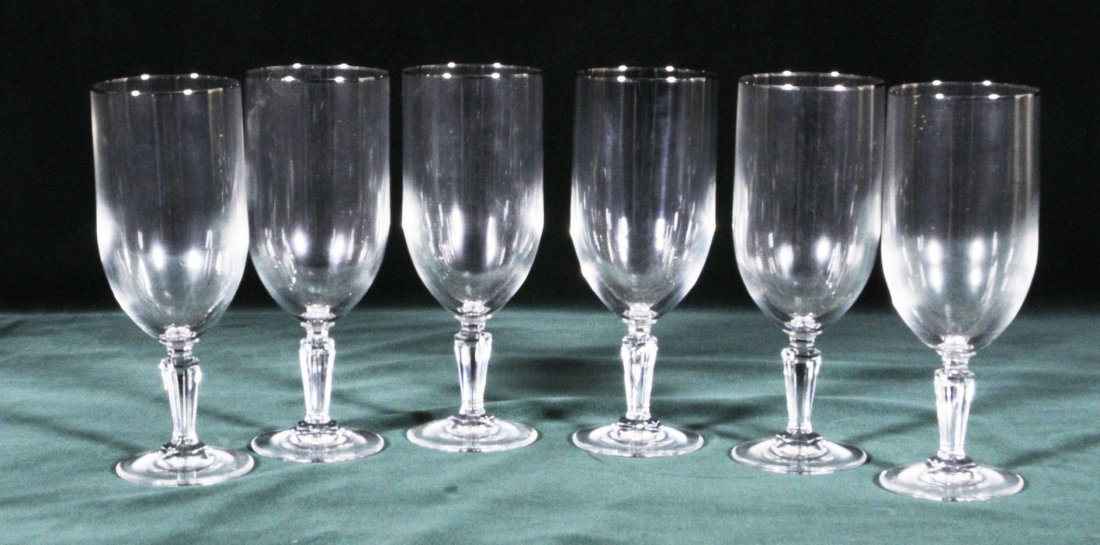 15: 6 WATERFORD GOBLETS WITH A PEDESTAL BASE.  SILVER B