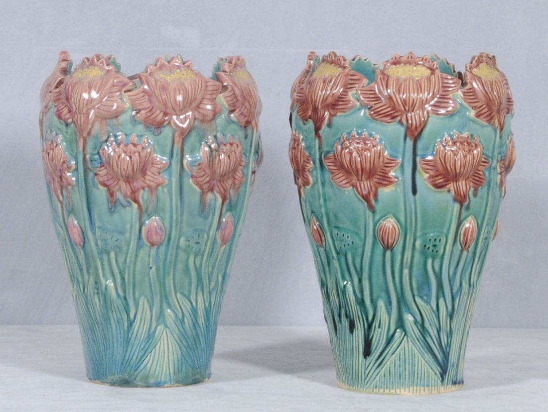 21: PR. FLORAL DECORATED CERAMIC VASES. GREEN BACKGROUN