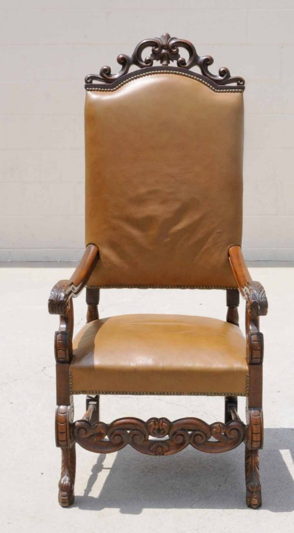 22: CARVED WALNUT HIGH BACK OPEN ARMCHAIR. OPENWORK TOP