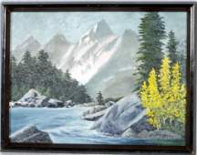 39 OIL PTG BD OF A LANDSCAPE SCENE DEPICTING MOUNTAI