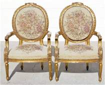 72: PR. FRENCH LOUIS XVI STYLE OPEN ARMCHAIR. CARVED GI