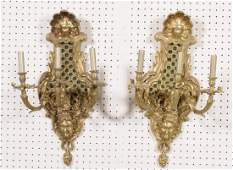 166 PR FRENCH BRONZE 3 LIGHT WALL SCONCES 3 SCROLLED