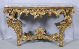 176: 18TH C. FRENCH/ITALIAN CARVED CONSOLE TABLE. GILTW