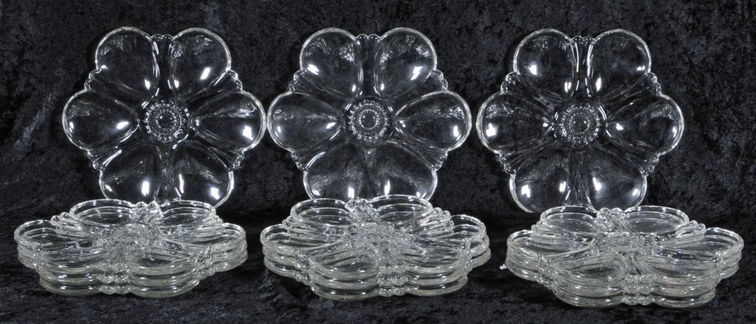 """3: 12 GLASS OYSTER PLATES.  10 1/4"""" DIA.  (TK)"""