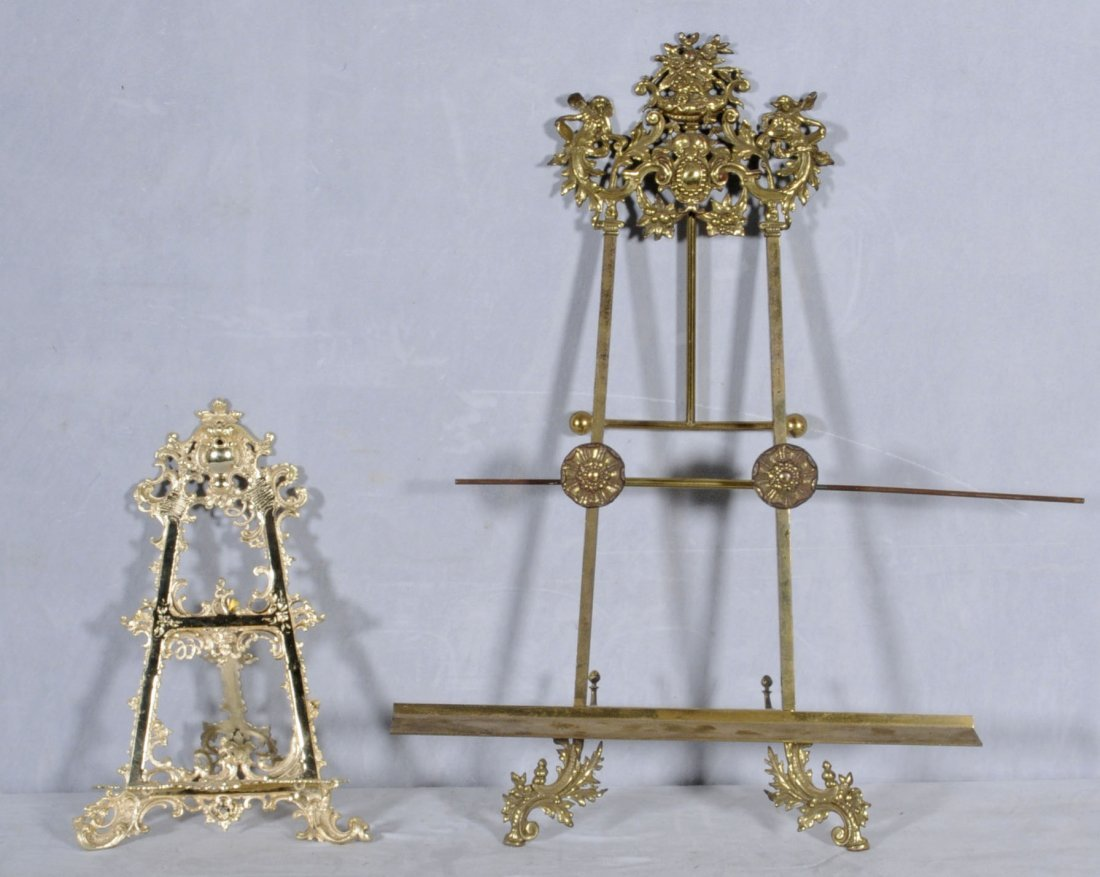 8: 2 GILT BRASS TABLE EASELS WITH OPENWORK FLORAL DECOR