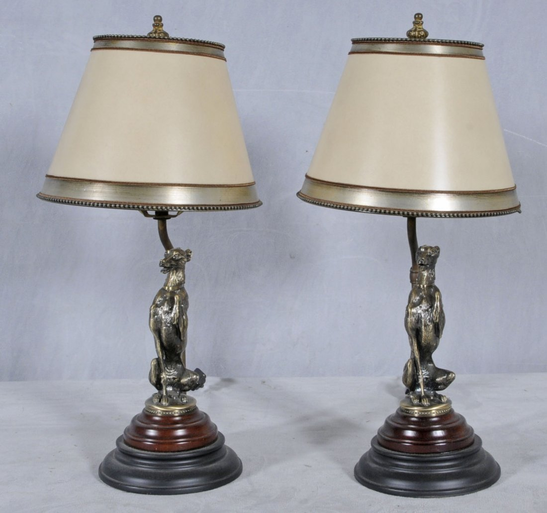 9: PR. SILVERED METAL SEATED FIGURES OF DOG LAMPS WITH