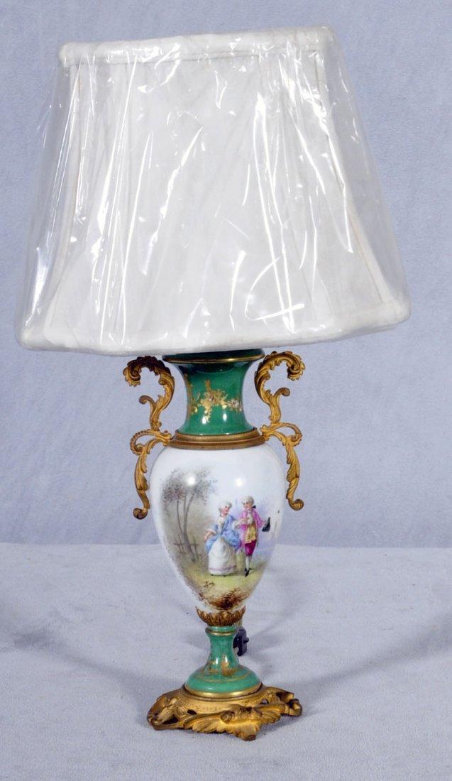 10: SM. FRENCH SEVRES PORCELAIN BOUDOIR LAMP. URN SHAPE