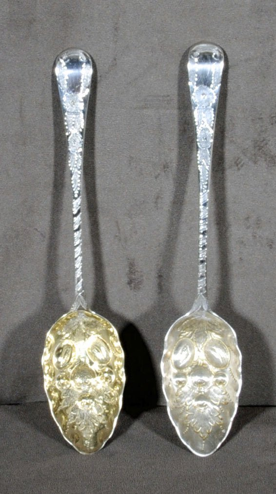 11: PR. 18TH C. ENGLISH SILVER BERRY SPOONS. ONE HAS A
