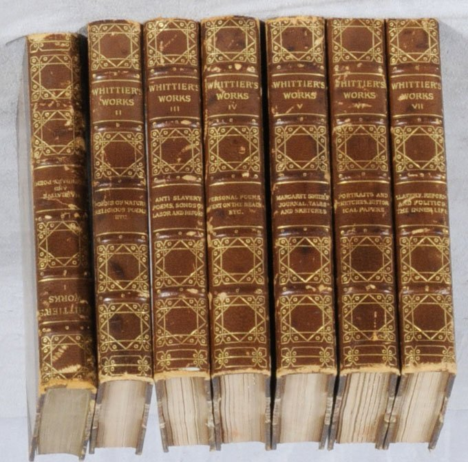 """13: 7 VOL.  """"THE COMPLETE WRITINGS OF JOHN G. WHITTIER"""