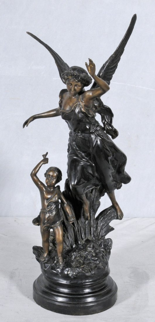 17: CONTEMPORARY BRONZE SCULPTURE OF A WINGED LADY AND