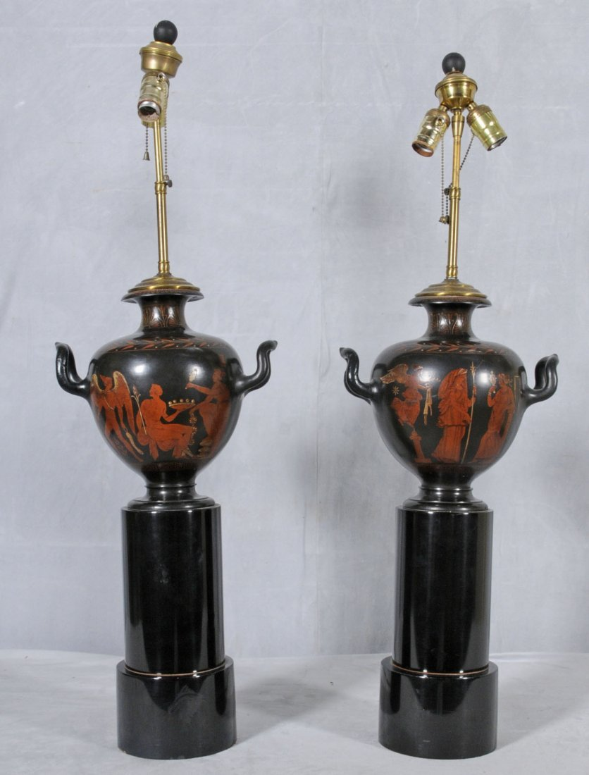18: PR. BLACK POTTERY GRECIAN STYLE URN/LAMPS. PAINTED