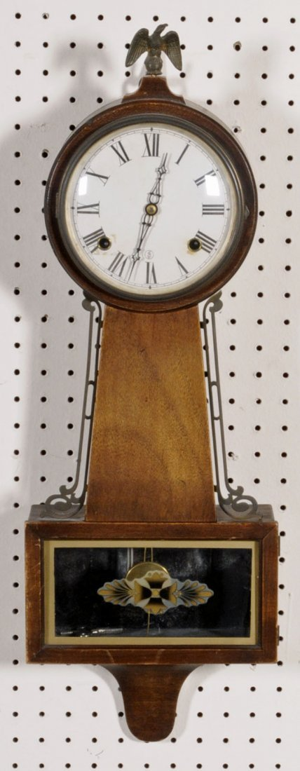 "21: SETH THOMAS WALNUT CASE BANJO CLOCK.  26"" H X 9 1/4"