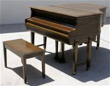 100: WM. KNABE AMPICO PLAYER GRAND PIANO & BENCH. SERIA