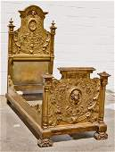 105 ITALIAN PAINTED CARVED GILTWOOD HIGH BACK BED BED