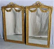 170: PR. ITALIAN GILTWOOD CARVED WALL MIRRORS WITH FLOR