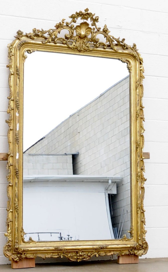 205: ANTIQUE FRENCH GILT & GESSO LARGE WALL MIRROR. OPE